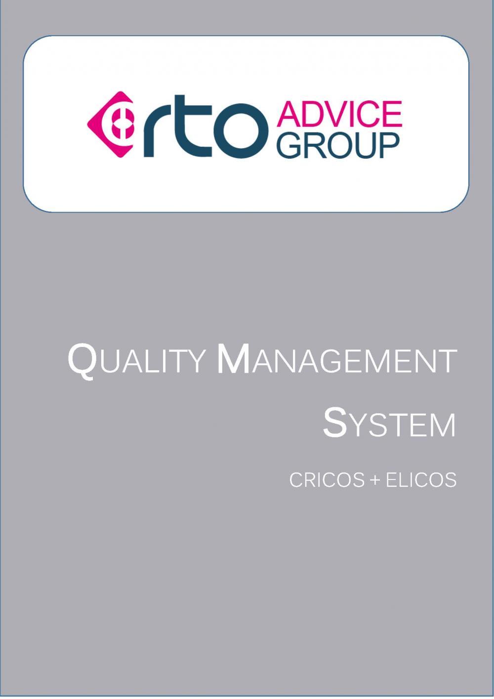 Quality Management System – ELICOS & CRICOS 2018 – RTO Advice Group
